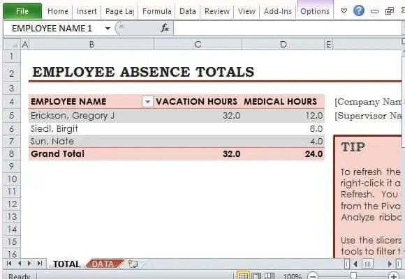 employee vacation tracker template 999