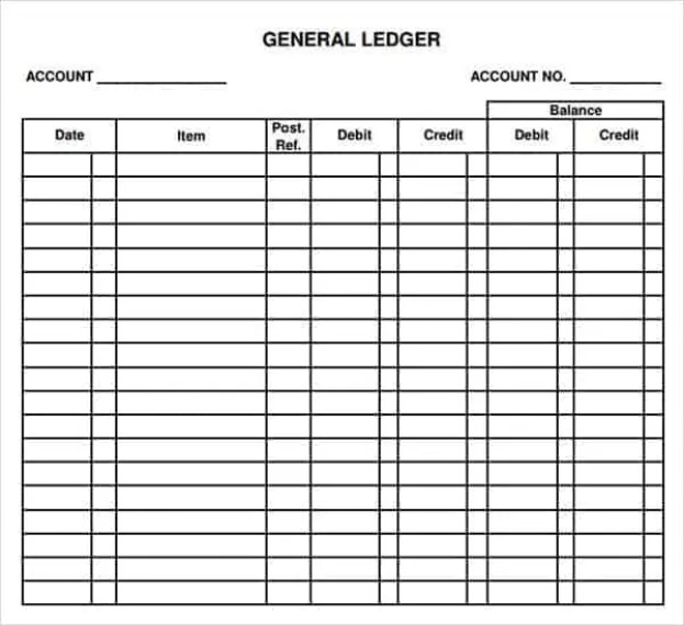 12 excel general ledger templates excel templates for Company bookkeeping templates