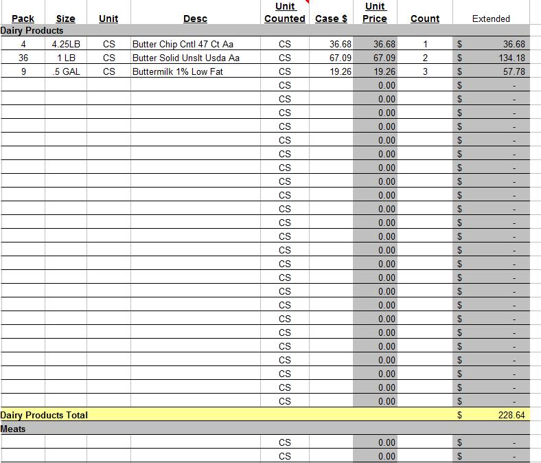 spread sheet templates