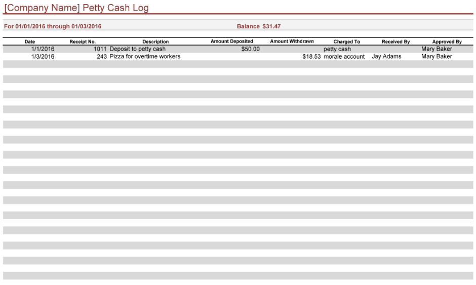 petty cash log template 444