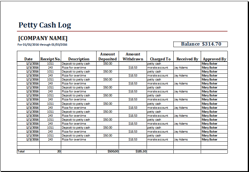 petty cash log template 555