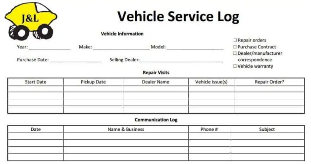 service log template 111