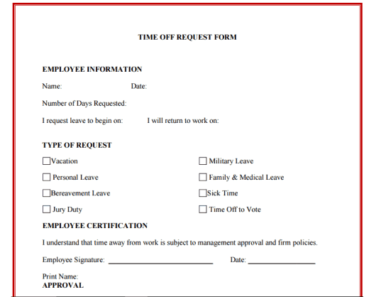 time off request form template 888