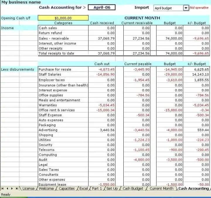 excel accounting sheet