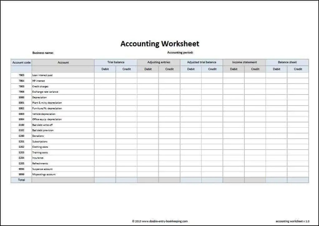 Charming Accounting Sheets Free