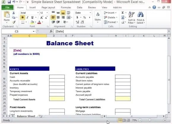 Balance Sheet Formats In Excel  Excel Templates