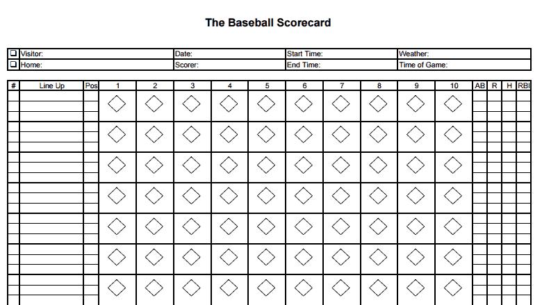 Baseball Scorecard Free Sample