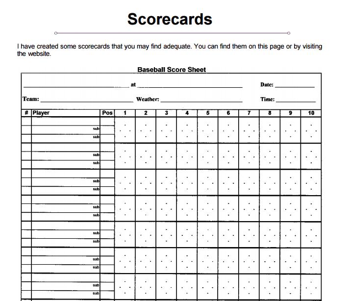 baseball scorecard 88