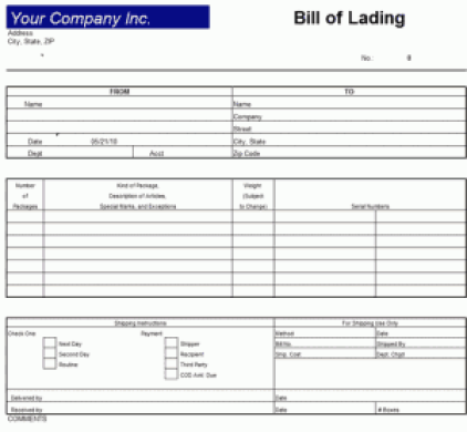 9 Bill Of Lading Templates Excel Templates – Template Bill of Lading