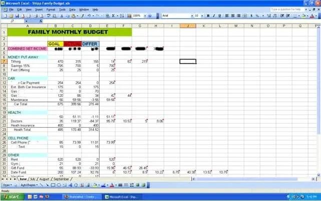 Sample Budget Spreadsheet