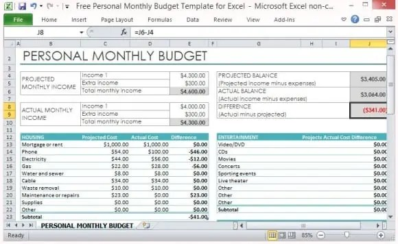 personal expense template