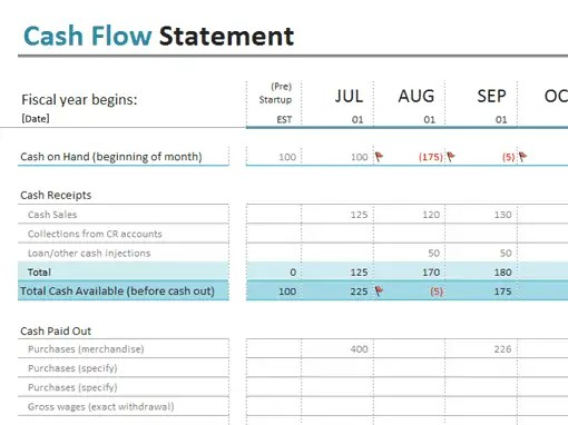 cash flow excel template 111