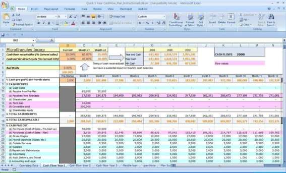 cash flow excel template 444