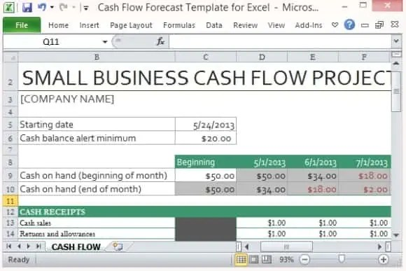 template for cash flow statement