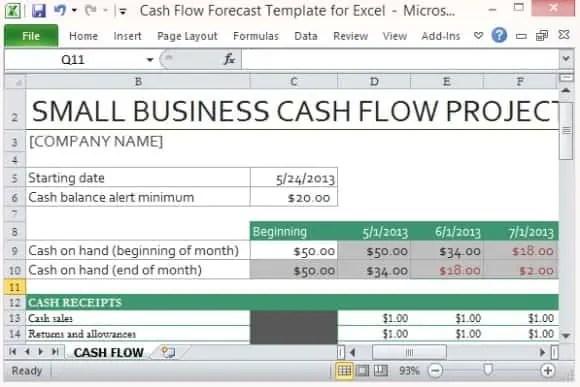 microsoft excel templates  9  cash flow excel templates