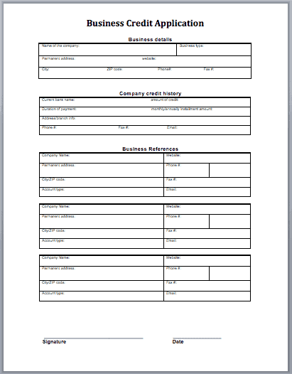 template for credit application