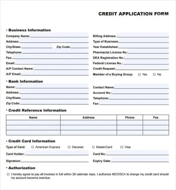 Credit Application Templates Excel  Excel Templates