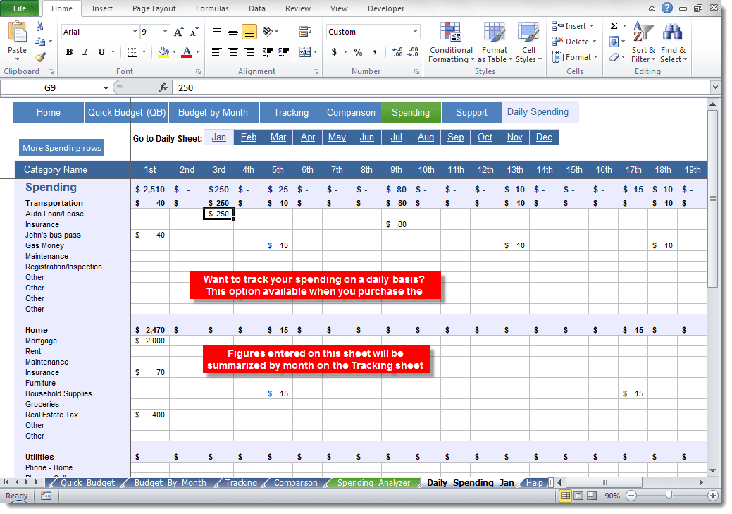 daily budget excel template