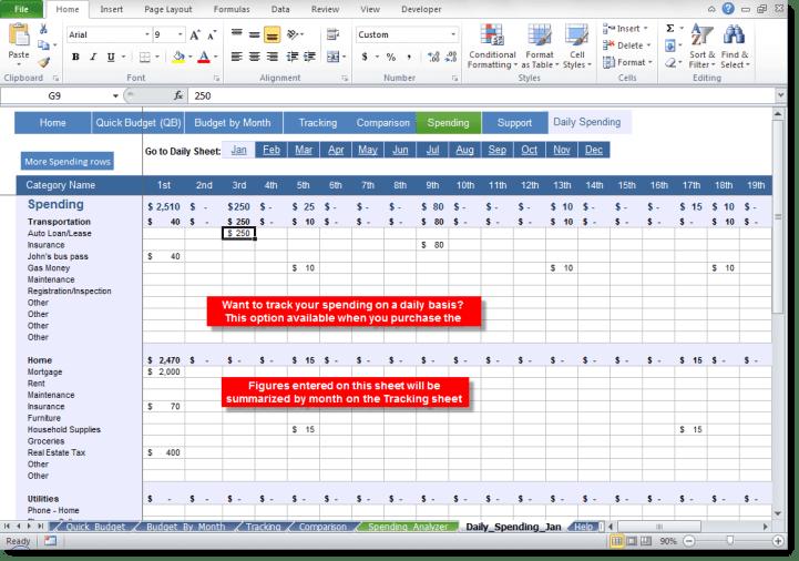 daily budget sheet