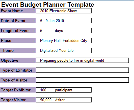 Event Planning Budget Sample