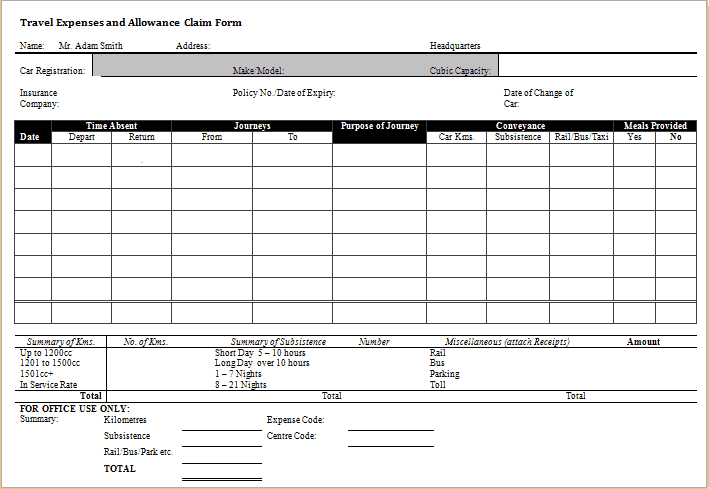 expense templates