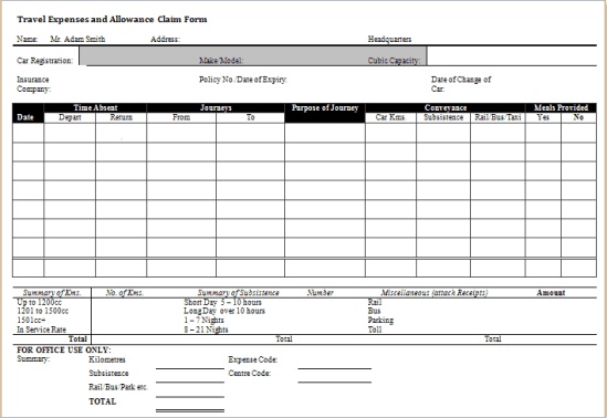 7 expense claim form templates excel templates