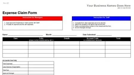 expense claim form template 63311