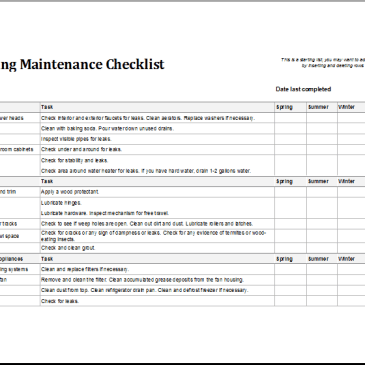 excel facility maintenance checklist template archives excel templates. Black Bedroom Furniture Sets. Home Design Ideas