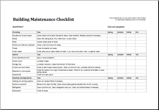 facility maintenance checklist template 74112
