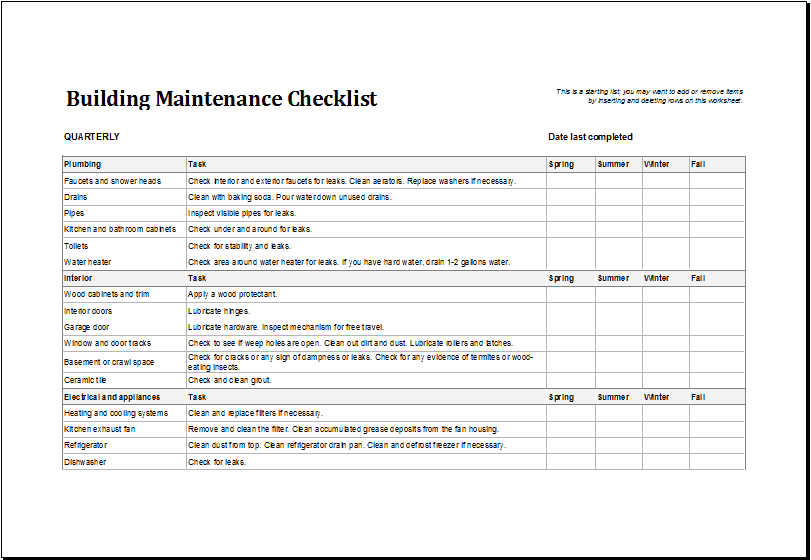 Facility Maintenance Checklist Template 74112  Checklist Sample Template