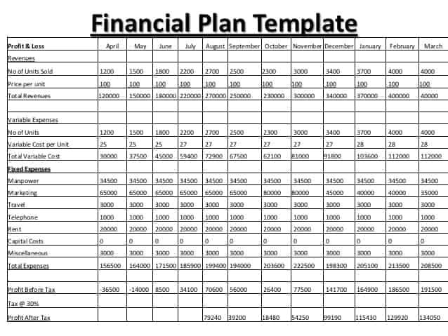 8+ Financial Plan Templates Excel - Excel Templates