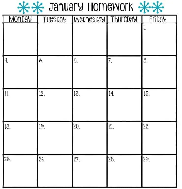 Monthly Homework Calendar Template Archives  Excel Templates