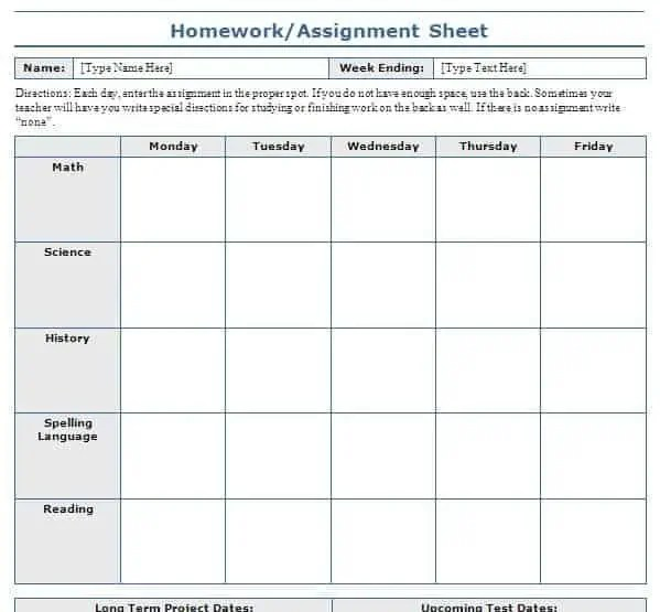 homework schedule template free