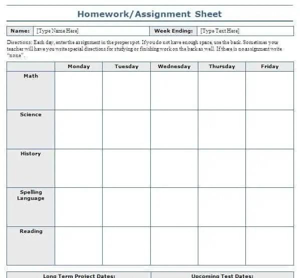 Homework Schedule Templates  Excel Templates