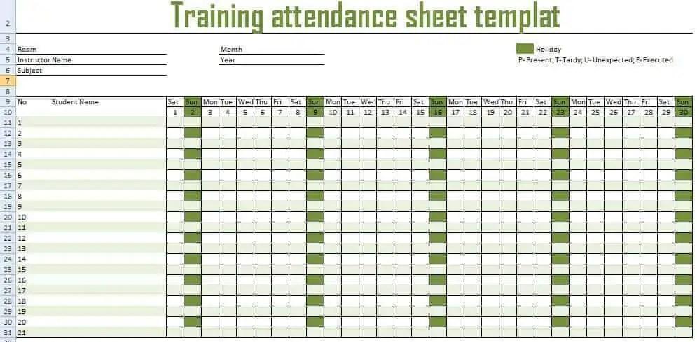 Delightful Employee Monthly Attendance Sheet Template Excel. 9 Monthly Attendance  Sheet Templates Excel ... In Monthly Attendance Sheet Template Excel