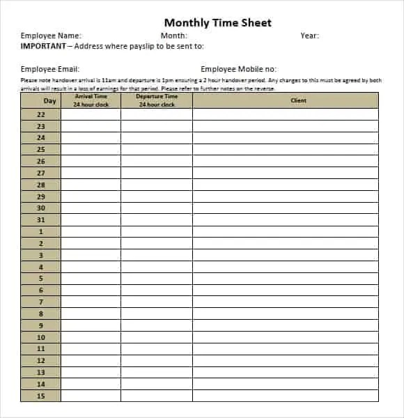 9+ Monthly Timesheet Templates