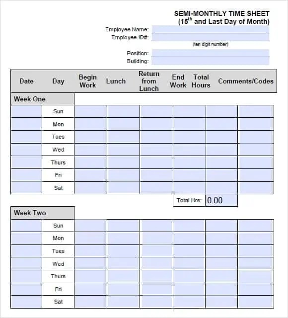 monthly timesheet template 999
