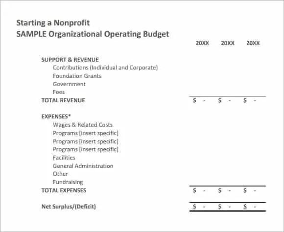 Good Nonprofit Budget Worksheet