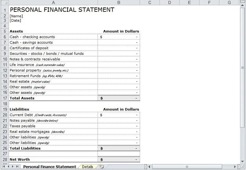 Personal Financial Statement Excel Template Archives - Excel Templates