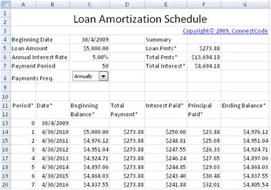Printable Amortization Schedule Template 222