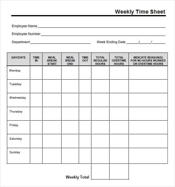 Printable Time Sheet