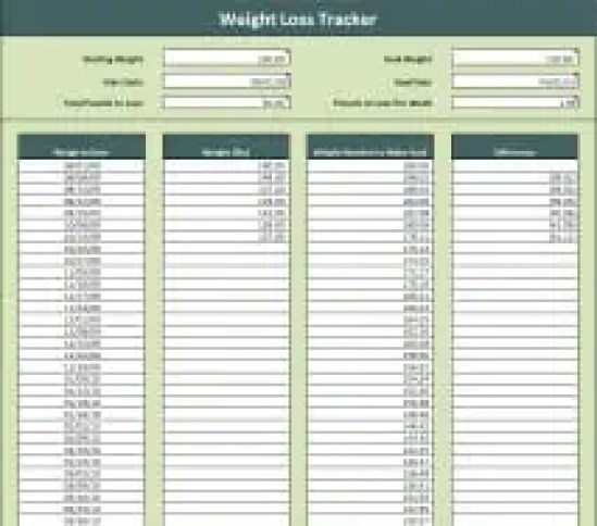 9 weight loss challenge spreadsheet templates excel for Weight loss record template