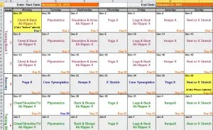 workout routine excel template
