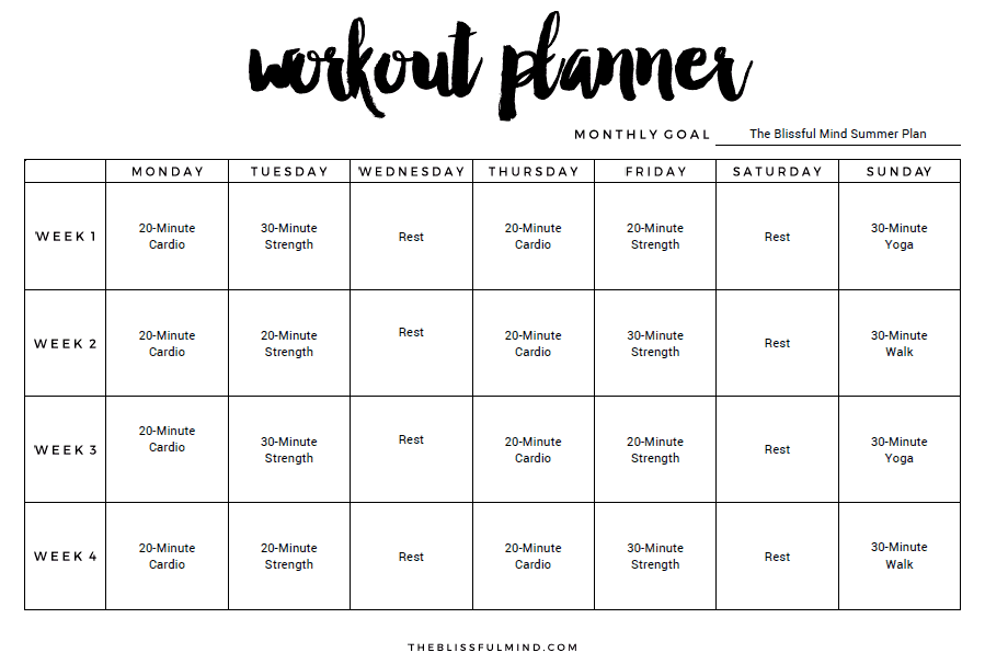 Workout Calendar Template : Excel workout templates
