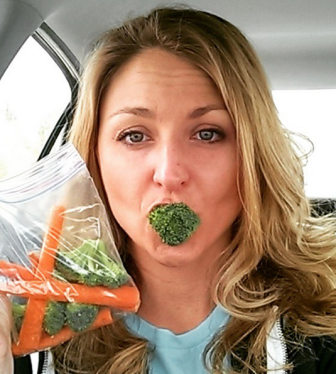 veggie in mouth