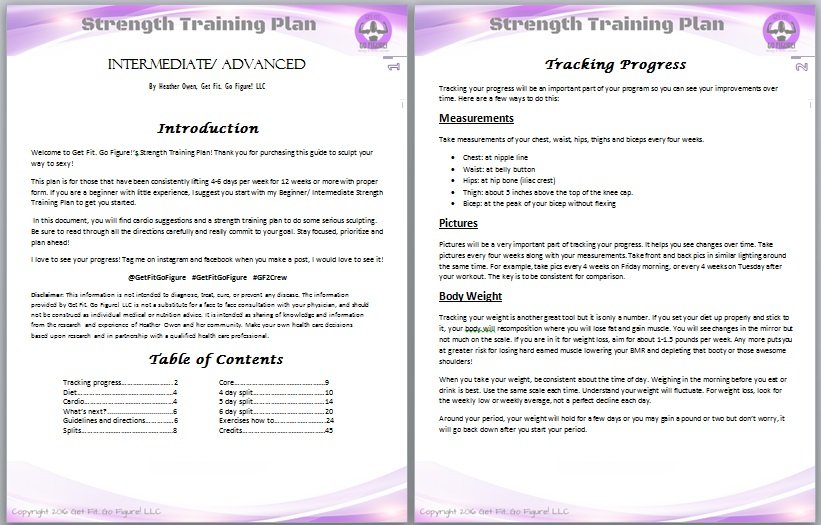 Get Fit. Go Figure! Strength Training Plan- Intermediate/ Advanced © (e-book)