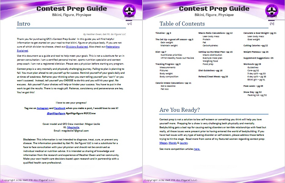 Contest Prep Guide for bikini, figure, physique