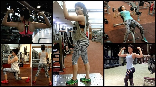 sapna vyas pate in gym doing exercises