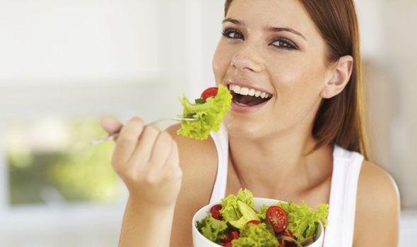 eat vegetable salad: healthy diet