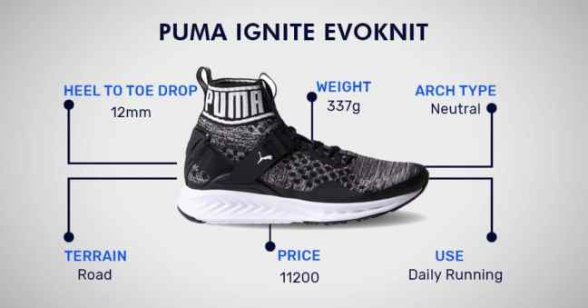 puma ignite evoknit running shoes for men